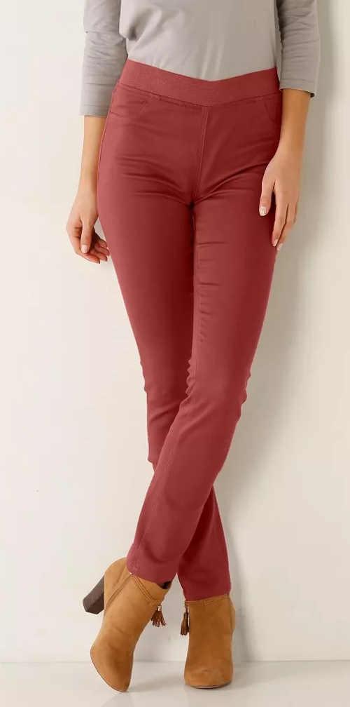 Červené dámske džínsové legíny