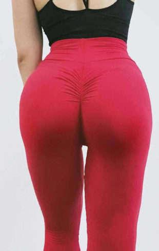 Červené dámske legíny na jogu