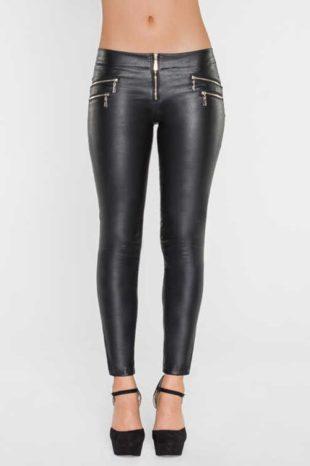 Čierne nohavicové legíny v koženom vzhľade strihu slim fit