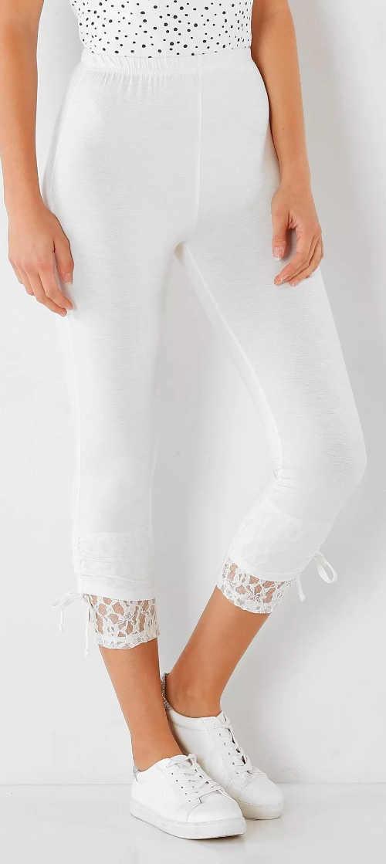 Legínové korzárské nohavice s čipkou