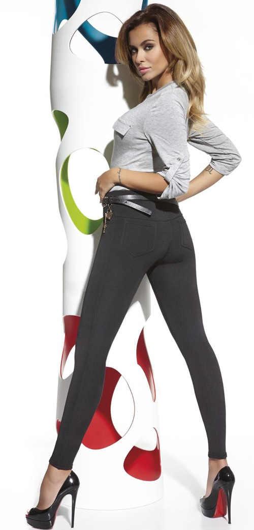 Jednoduché čierne nohavicové legíny Bas Bleu Marika