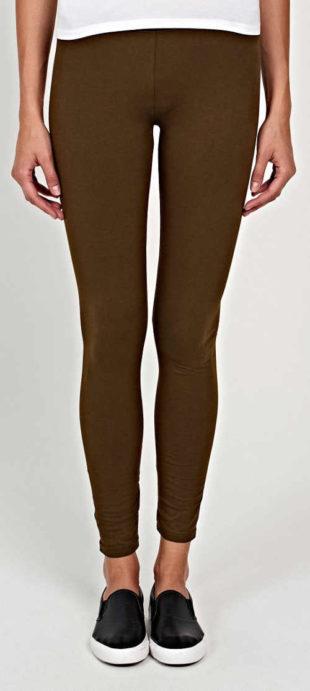 Jednofarebné dlhé hnedé dámske legíny