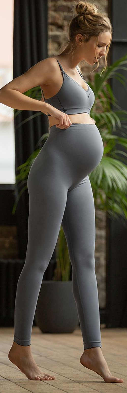 Jednofarebné šedé tehotenské dámske legíny Illusion