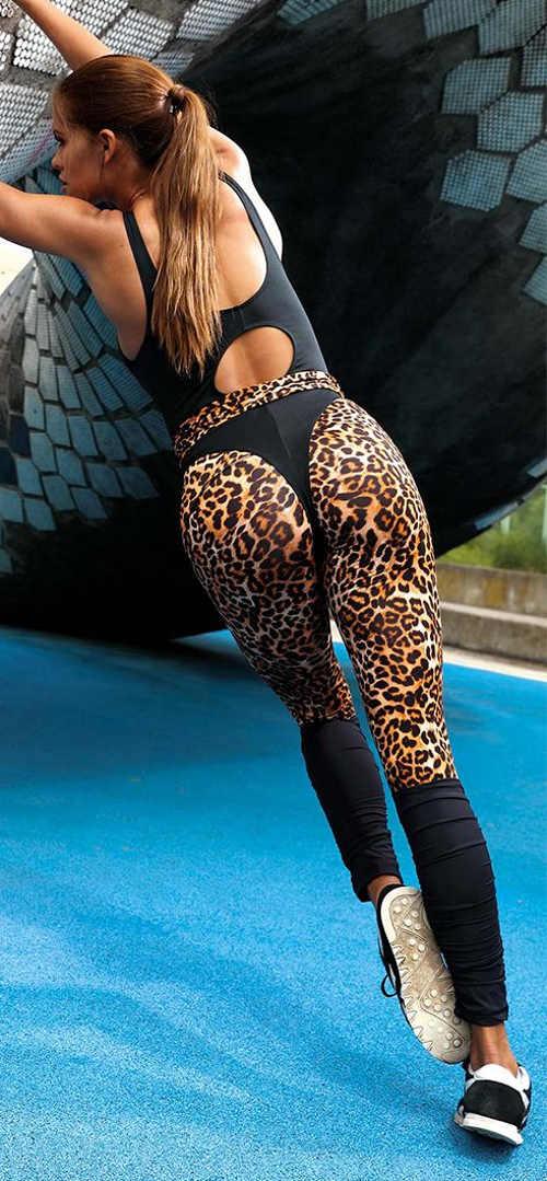 Moderné športové dámske legíny s leopardím vzorom