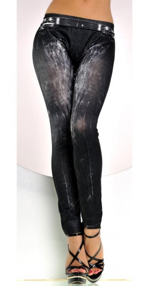 Čierne dlhé legíny džínsového vzhľadu - džegíny