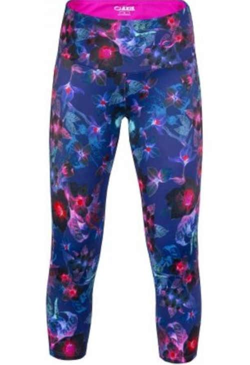Farebné dámske fitness legíny s vyšším pásom a 3/4 dĺžkou nohavíc
