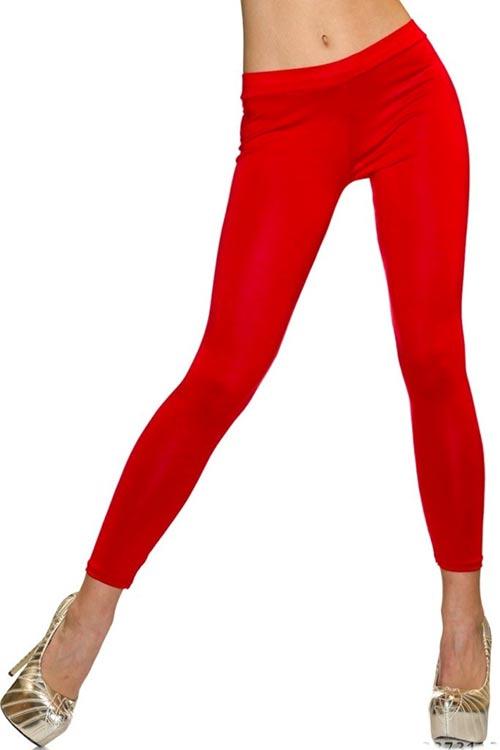 Lacné červené dlhé dámske legíny s pružným pásom