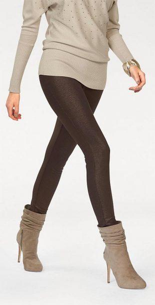 Sexy hnedé trblietavé legíny v štýle džínsov