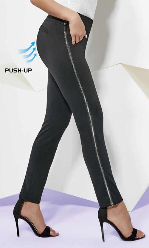 Čierne dámske push-up legíny s kovovým pásom na boku