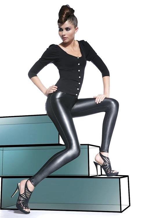 Čierne lesklé nohavicové legíny