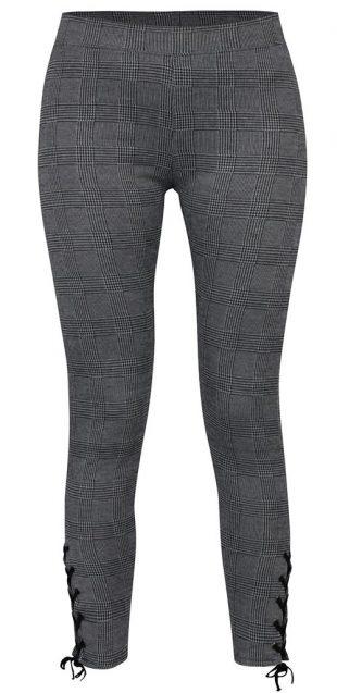 Čierno-sivé legíny so šnurovacími nohavicami