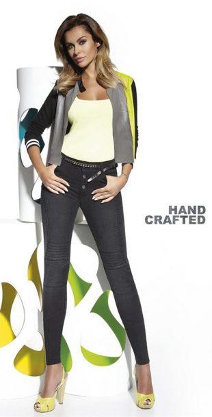 Dámske elastické nohavice s vyšším pásom