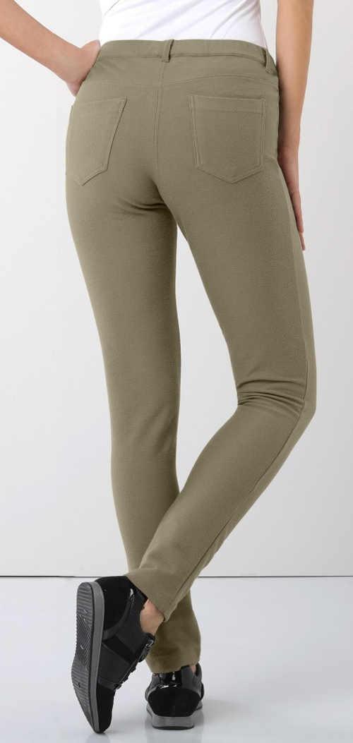 Tmavobéžové dámske legínové nohavice